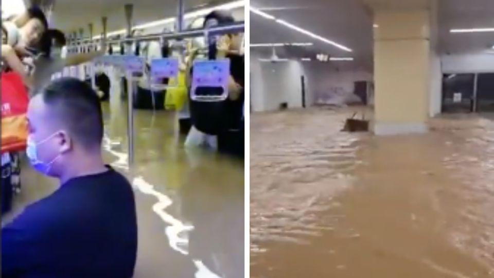 Los usuarios del Metro en China quedaron bajo el agua por algunos minutos hasta que fueron rescatados. Foto: Especial