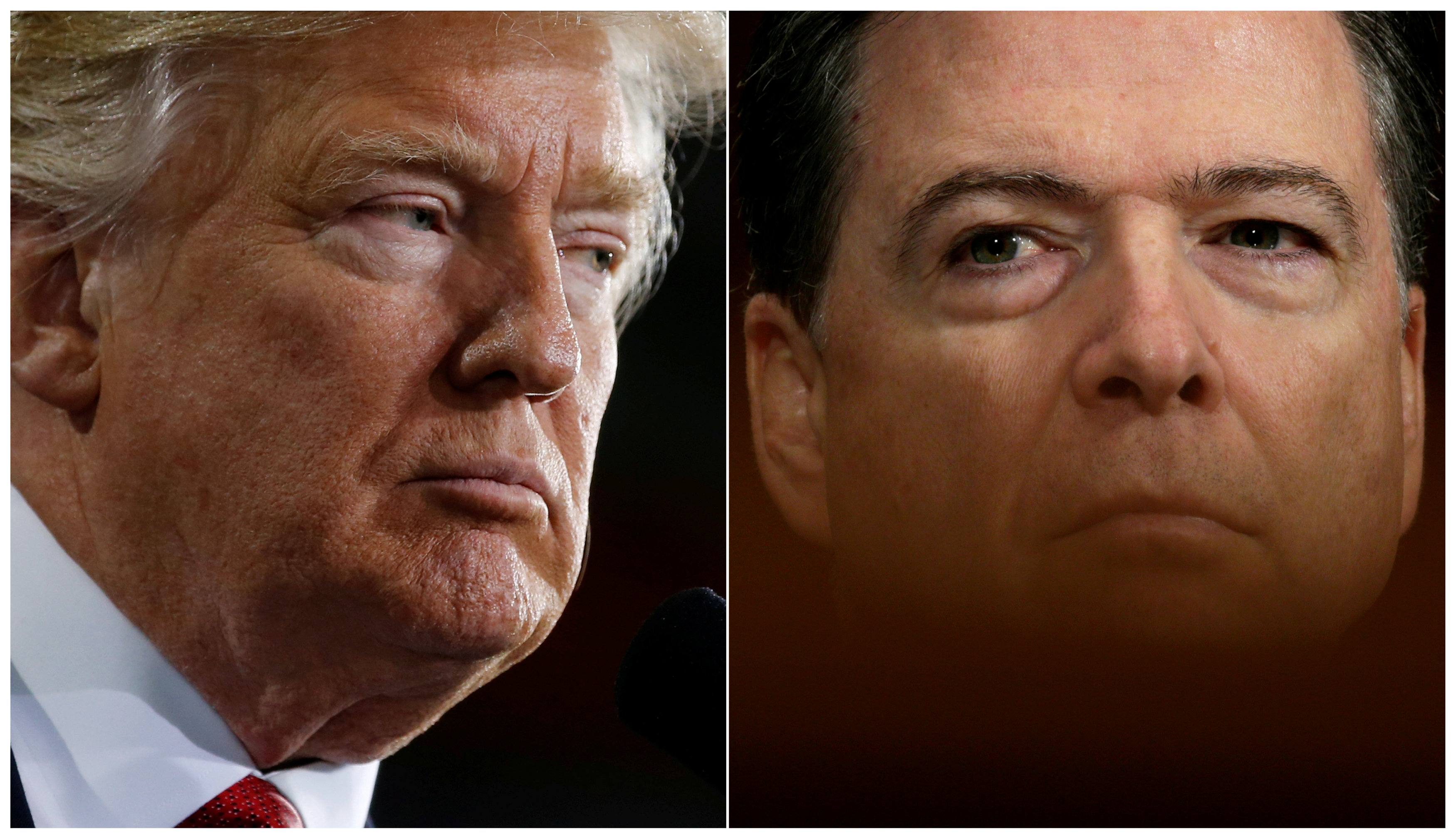 El presidente de Estados Unidos, Donald Trump (izq) y el exdirector del FBI, James Comey (der). FOTO: REUTERS