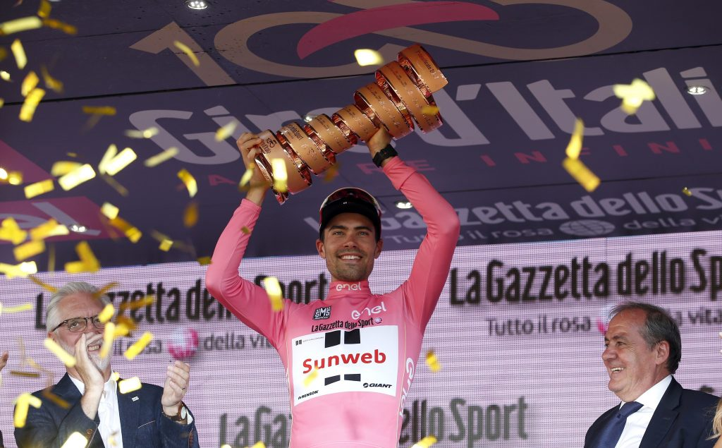 Tom Dumoulin, ganador del Giro d'Italia. (AP Photo/Antonio Calanni)