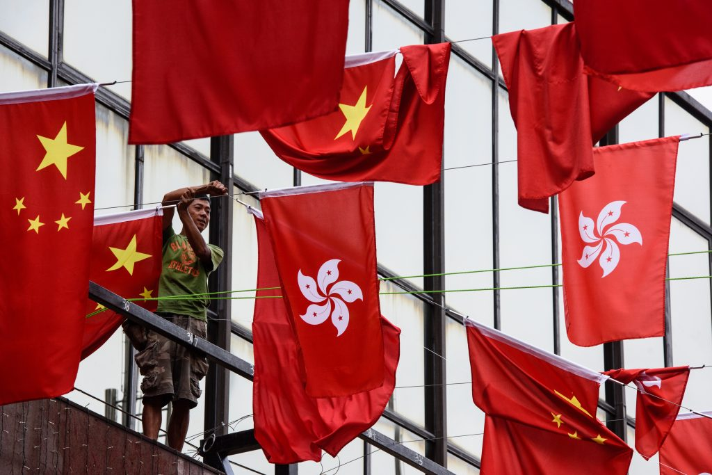 Preparativos en Hong Kong rumbo a este 1 de julio.  AFP.