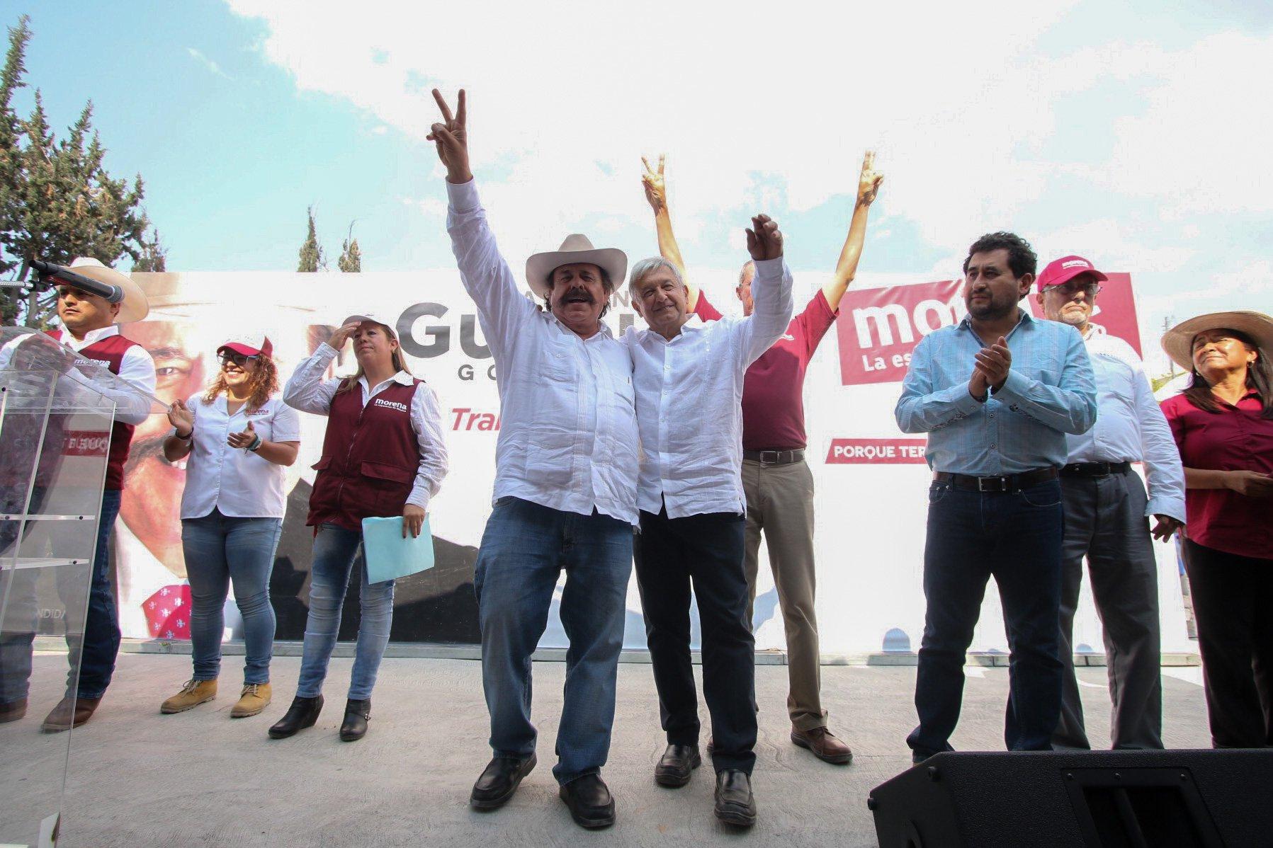 El presidente nacional del partido MORENA Andrés Manuel López Obrador acompañó al candidato a la gubernatura del estado Armando GuadianaTijerina al mitin realizado en el municipio. FOTO: VENUSTIANO MADERO /CUARTOSCURO.COM