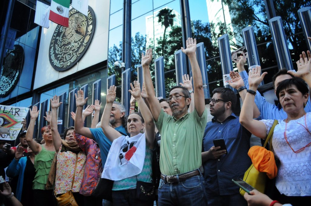 Manifestación en contra del espionaje a más de 100 personas a través del software Pegasus por parte del Gobierno Federal. @Cuartoscuro.com