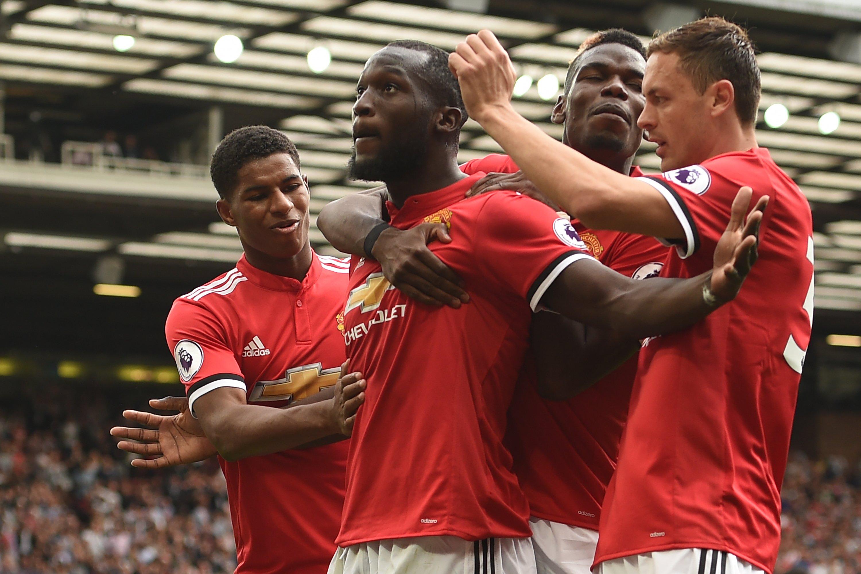 Romelu Lukaku celebra su gol ante el West Ham. @AFP