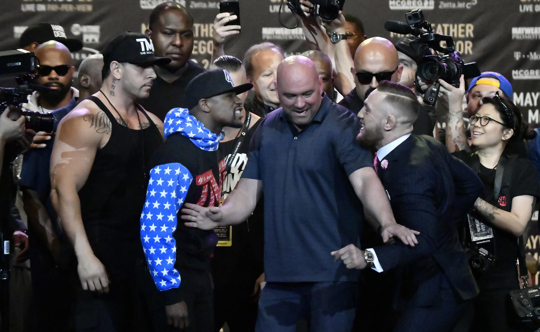 Floyd Mayweather y Conor McGregor. @AFP