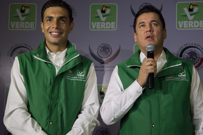 Jesús Sesma Suárez y Carlos Puente Salas, coordinadores parlamentarios del PVEM. CUARTOSCURO.