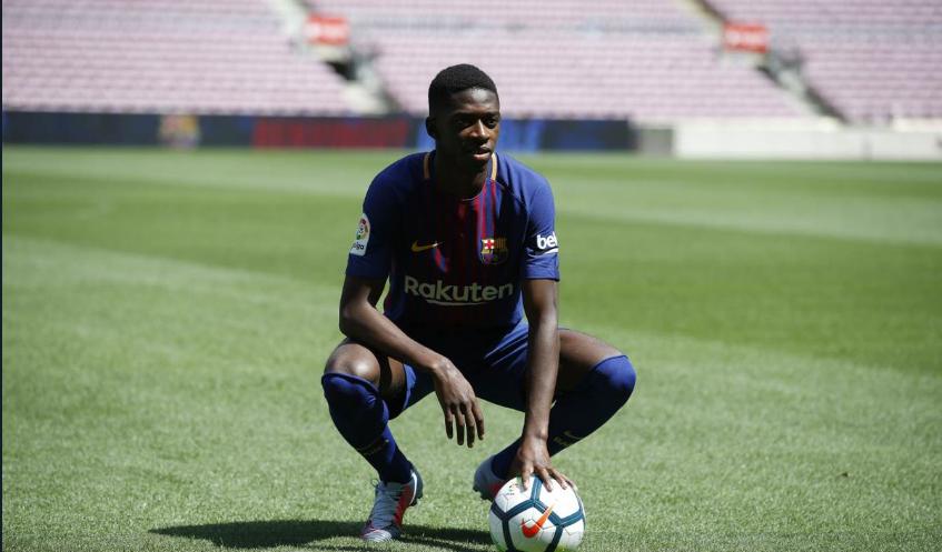 Dembélé presentado con el Barcelona luego de unos