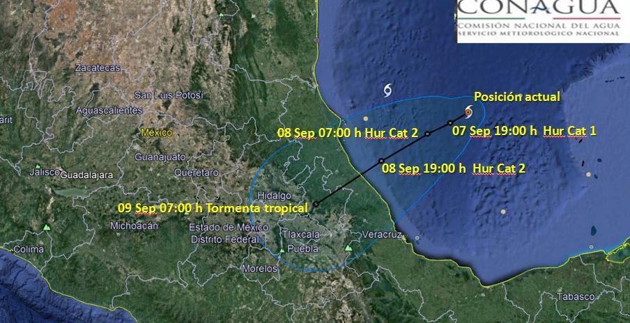 Establecen vigilancia en Veracruz por huracán Katia, desde el Río Pánuco