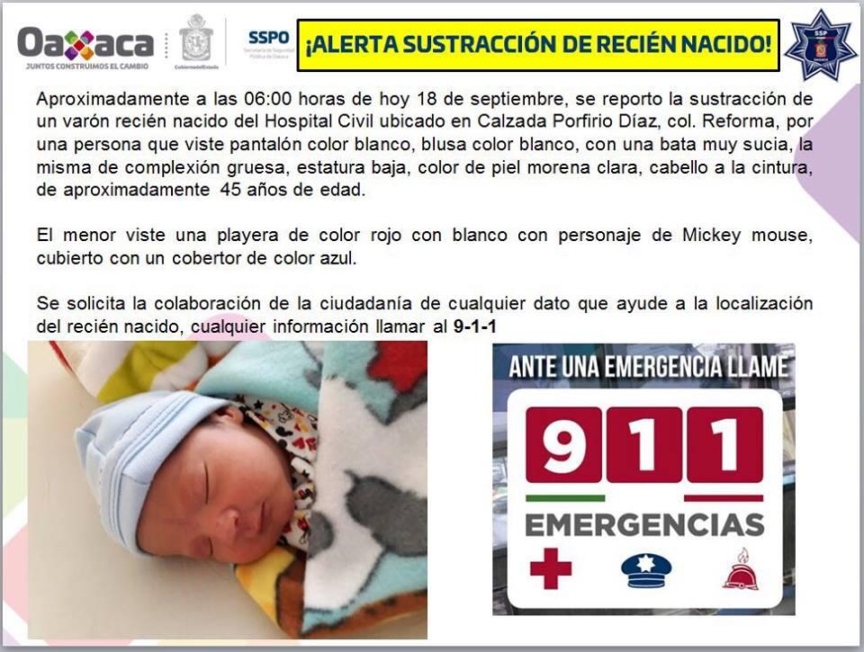 Hospital Civil de Oaxaca. Roban a un recién nacido