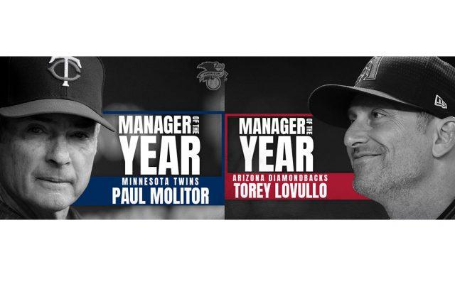 Paul Molitor, entrenador de Minnesota, y Torey Lovullo, entrenador de Arizona, fueron nombrados Manager del Año, de la Liga Americana y Nacional, respectivamente