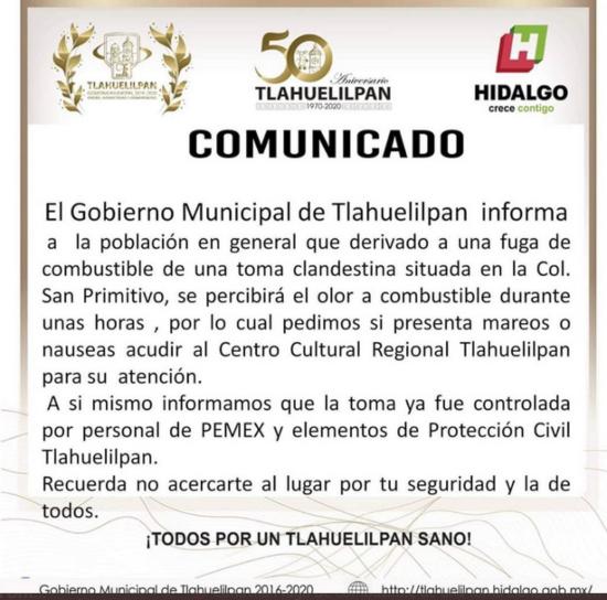 Comunicado emitido por el municipio de Tlahuelilpan. FOTO: Especial