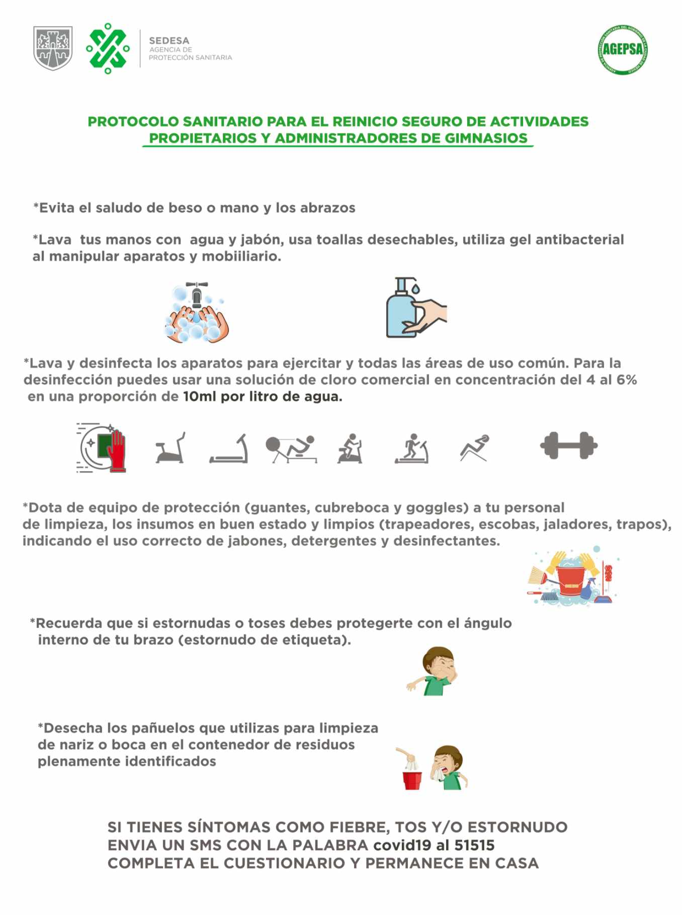 Protocolo higiene ante coronavirus gimnasios