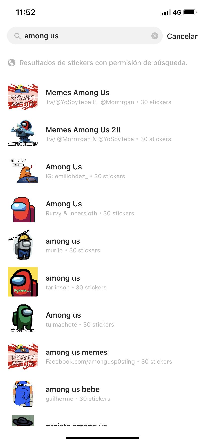 cómo descargar stickers de Among Us