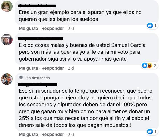 Mensajes de apoyo para Samuel García