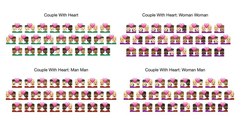 Nuevos emojis de parejas con corazón