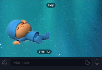Sticker de Pocoyo en Telegram